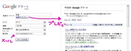 Googleアラートにキーワード入力